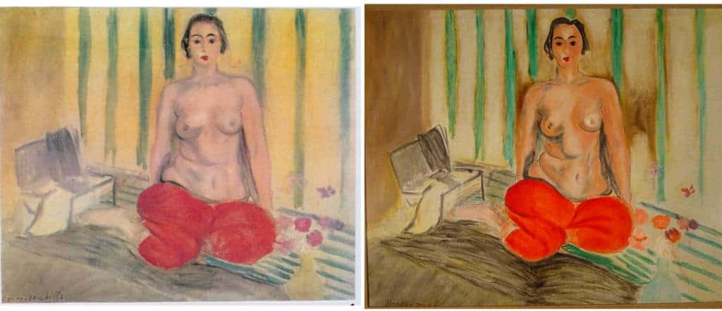 Henri Matisse - Odalisque in RedTrousers. Original (left) and fake (right).