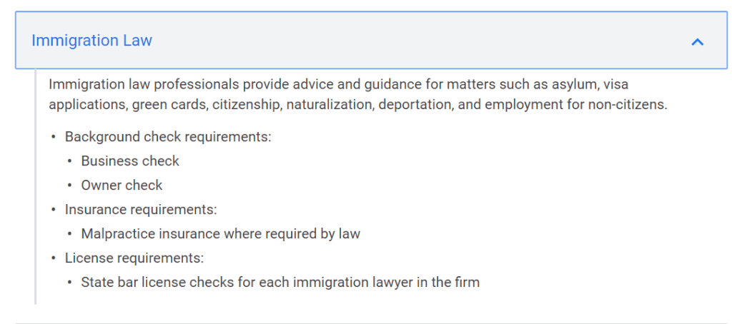 Google Local Services Ads Eligibility for Immigration Law