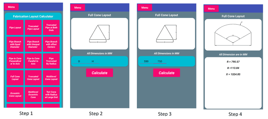 Screenshots for Cone Layout Example Checking Process