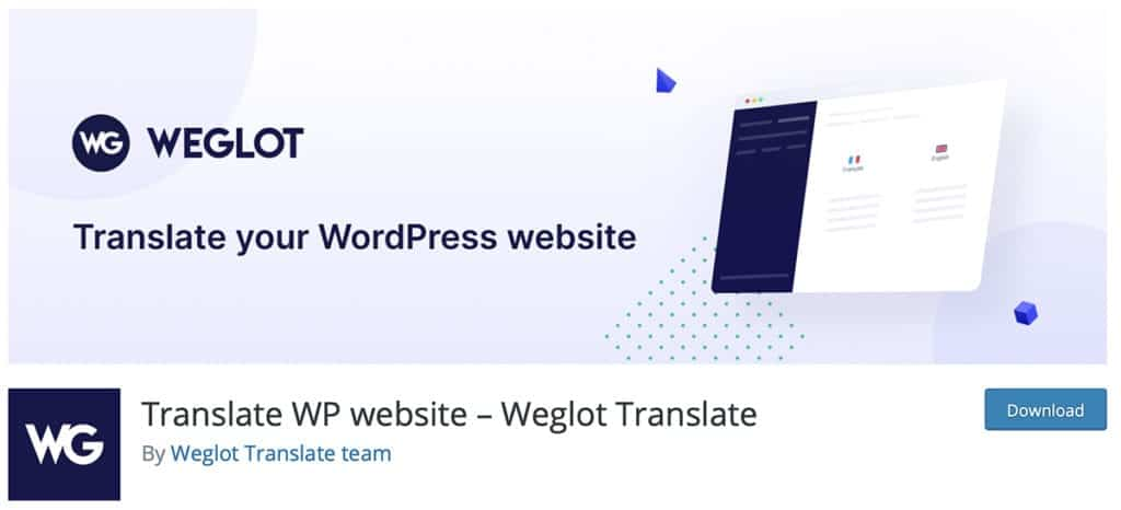 Weglot free translation plugin for WordPress sites