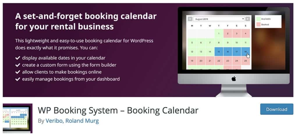 WP Booking System – Booking Calendar