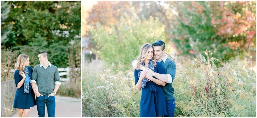 couple snuggling during Chicago engagement session in Lincoln Park zoo