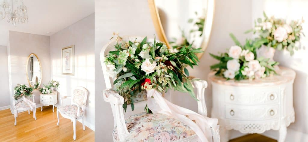 danada house getting ready room, wedding bouquet on the white furniture