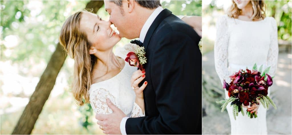 bride and groom bridal flowers, Alfred Caldwell Lily Pool wedding Chicago wedding photographer