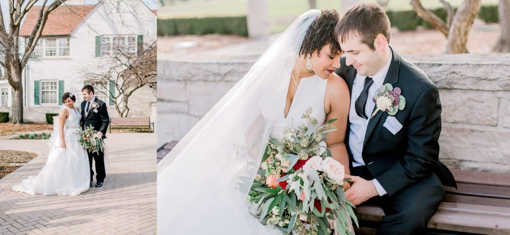 wedding couple standing in front of danada house innaperville il bride holding flowers