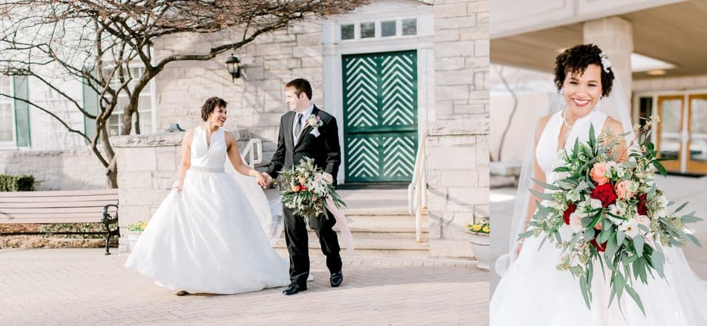 wedding pictures of bride and groom walking by chicago photographer