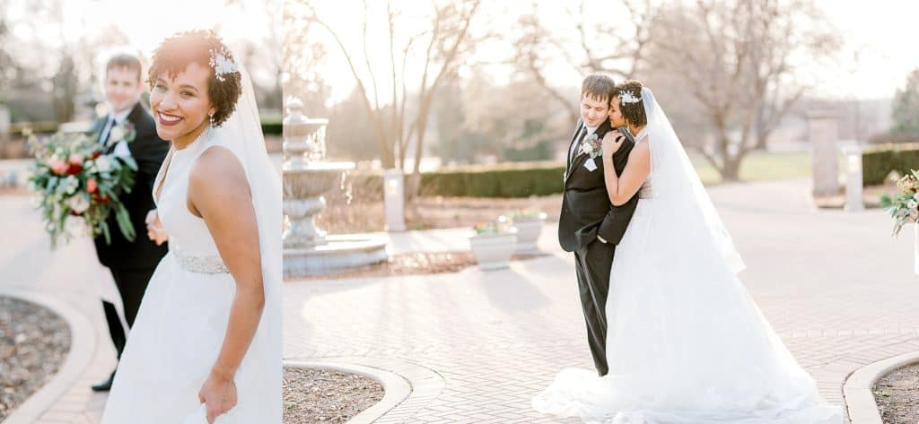 bride is pulling groom towards the camera, wedding couple snuggled together in Chicago wedding venue danada house