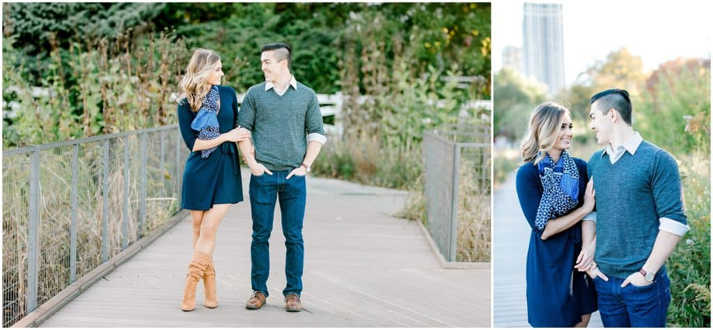 engaged couple walking through Chicago Lincoln Park during an Engagement session shoot by bozena voytko photography