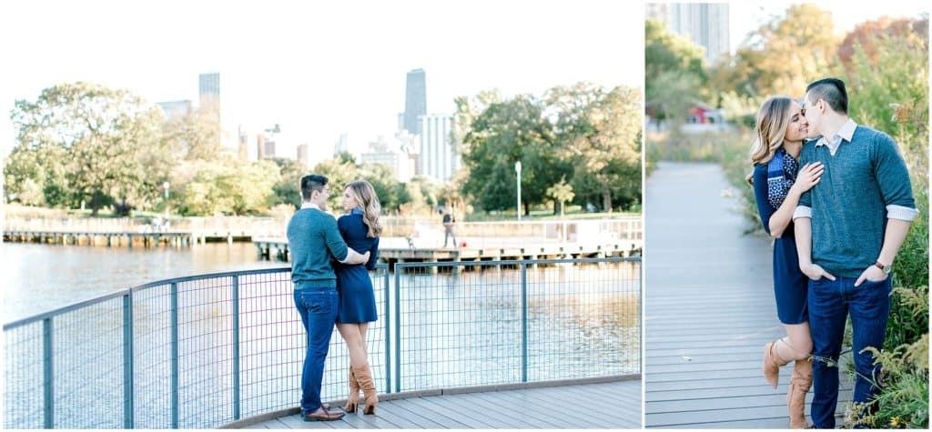 couple kissing during an engagement session at Lincoln Park Chicaho IL by Bozena Voytko Photography
