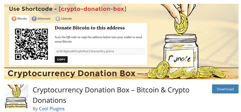 Cryptocurrency Donation Box Free Plugin 2020