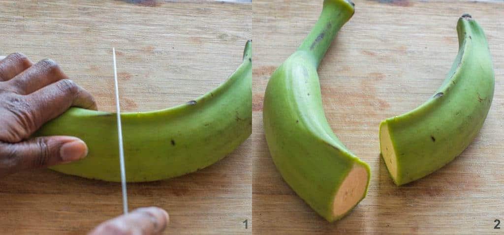 Steps 1-2 to make Dominican mangu