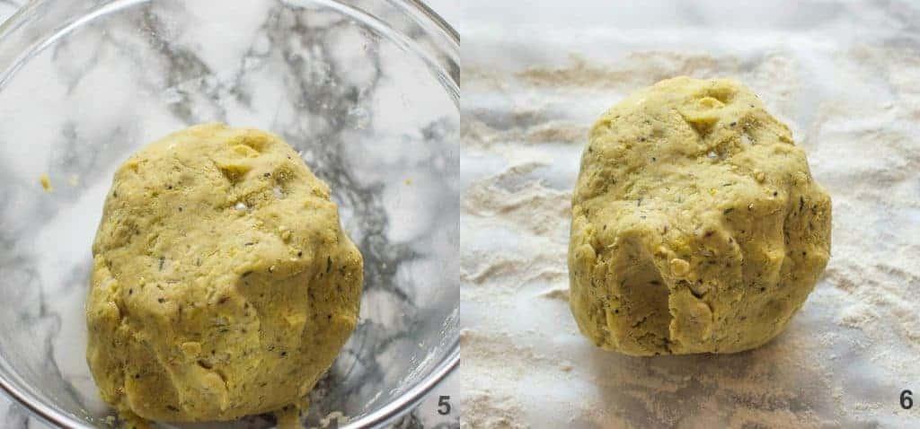 Steps 5-6 Making the potato into a dough ball