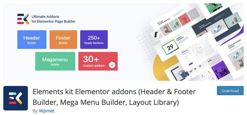Elements kit Elementor addons (Header & Footer Builder, Mega Menu Builder, Layout Library)