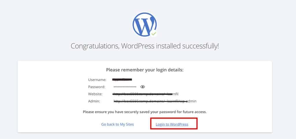 Congratulations WordPress installed successfully! screen