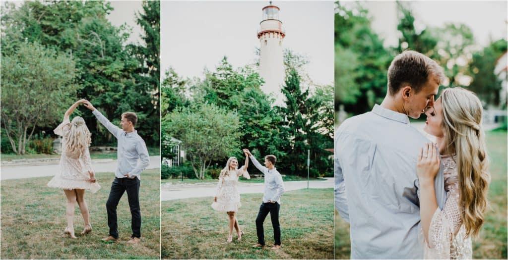 Lighthouse Evanston Beach Engagement session. Posing inspiration