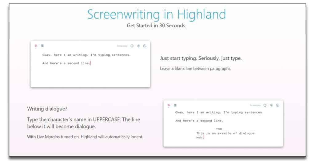 highland 2 review best screenwriting software