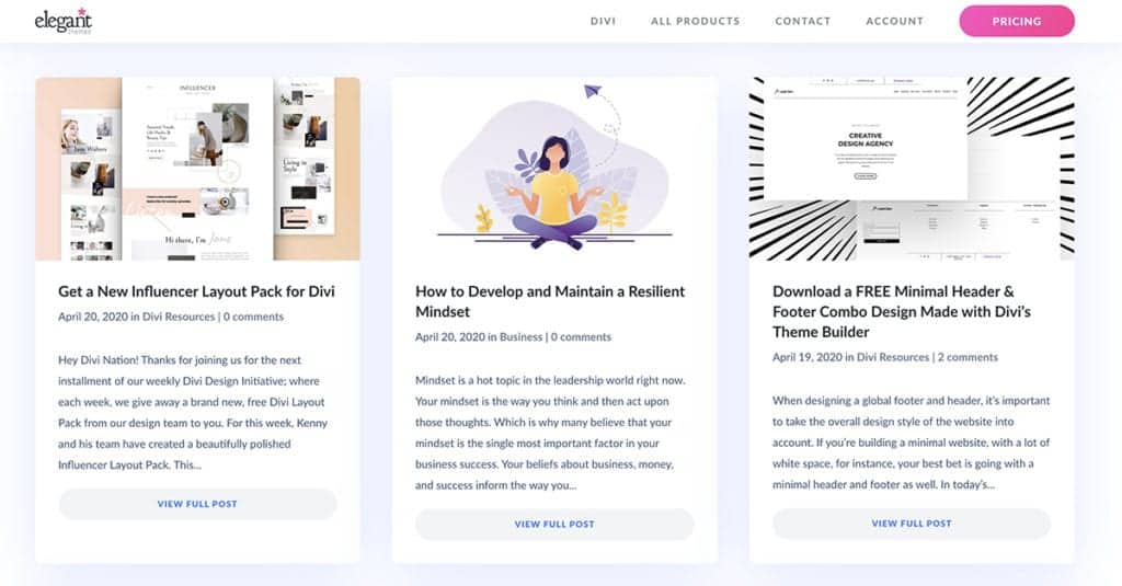 Elegant Themes Learn Divi Blog Resources