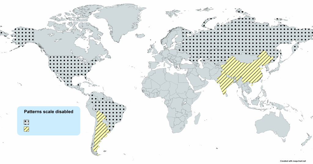 world map with patterns scale disabled