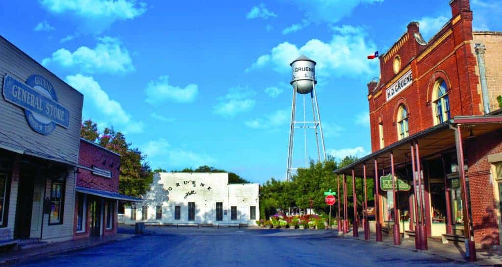 Gruene Center with shops and Gruene Hall.