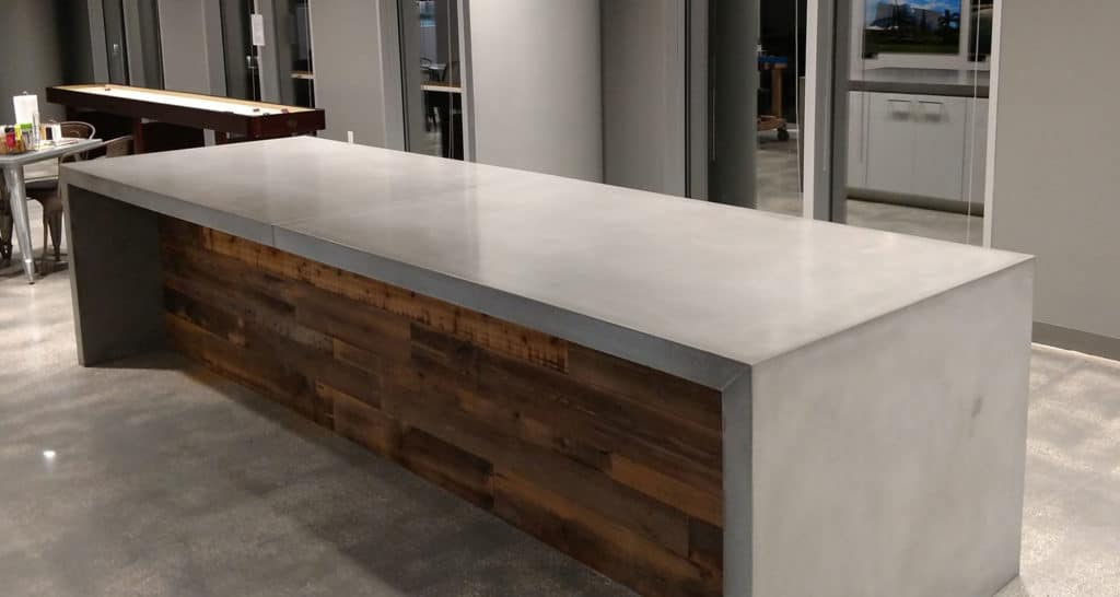 12 foot long Concrete Countertop With Waterfall Legs