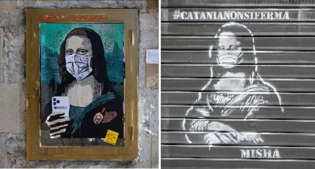 Street art Mona Lisa with face mask