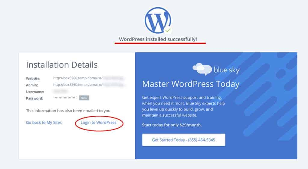 WordPress Installed you are all done in under 5 minutes