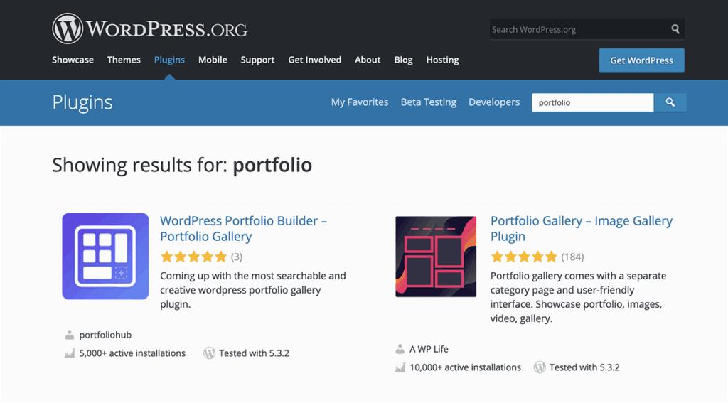WordPress.org Portfolio Plugins Directory 2021