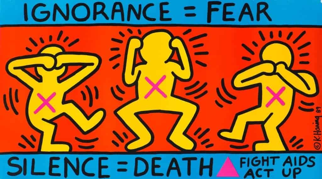 protest art. Keith Haring, Ignorance = Fear / Silence = Death, 1989.