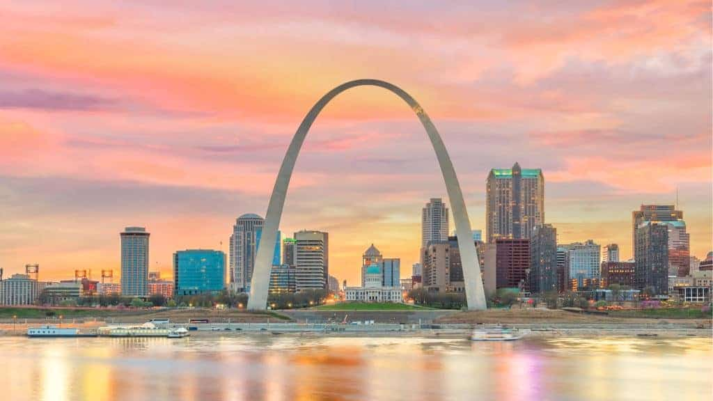 St. Louis downtown city skyline with the Gateway Arch.