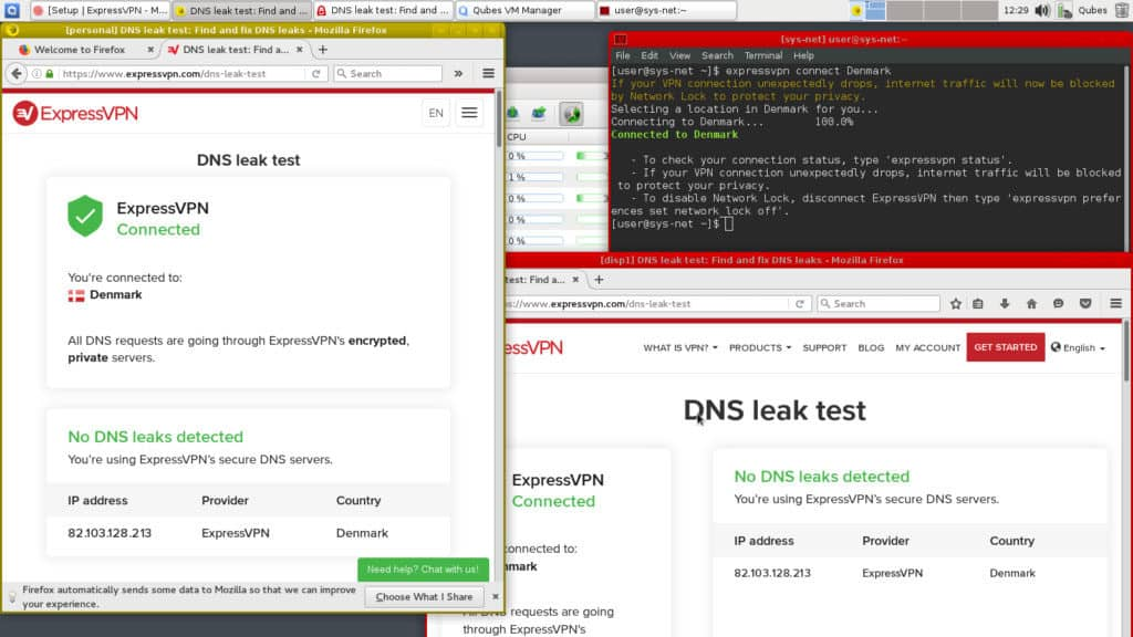 perform dns leak test on qubes os