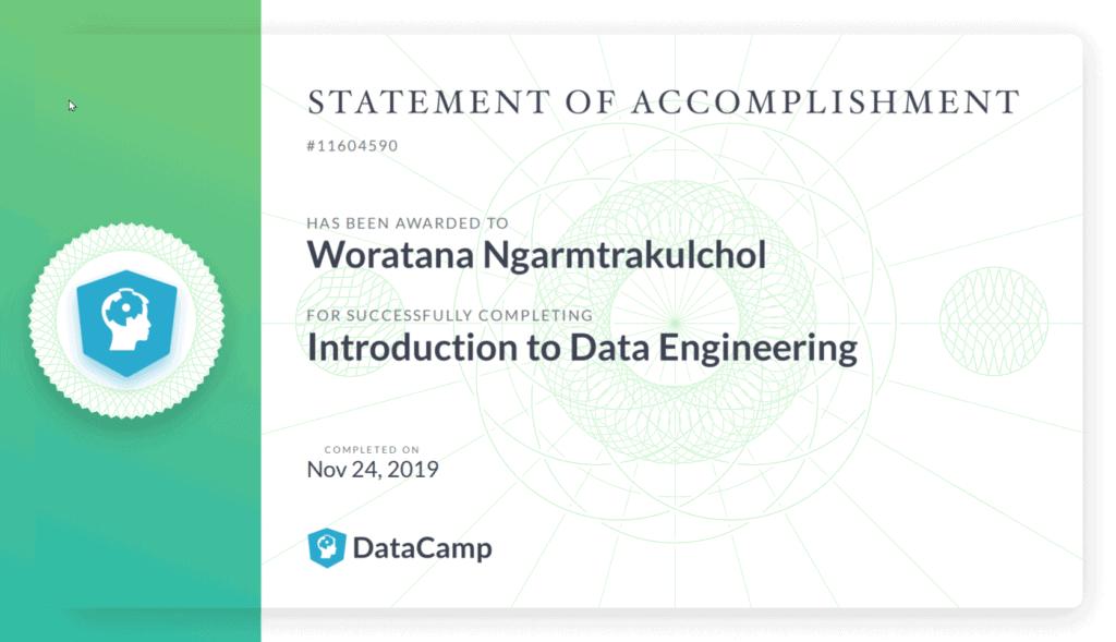 certificate คอร์สออนไลน์ data