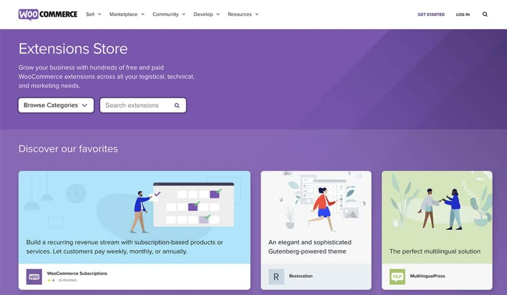 WooCommerce extension store products