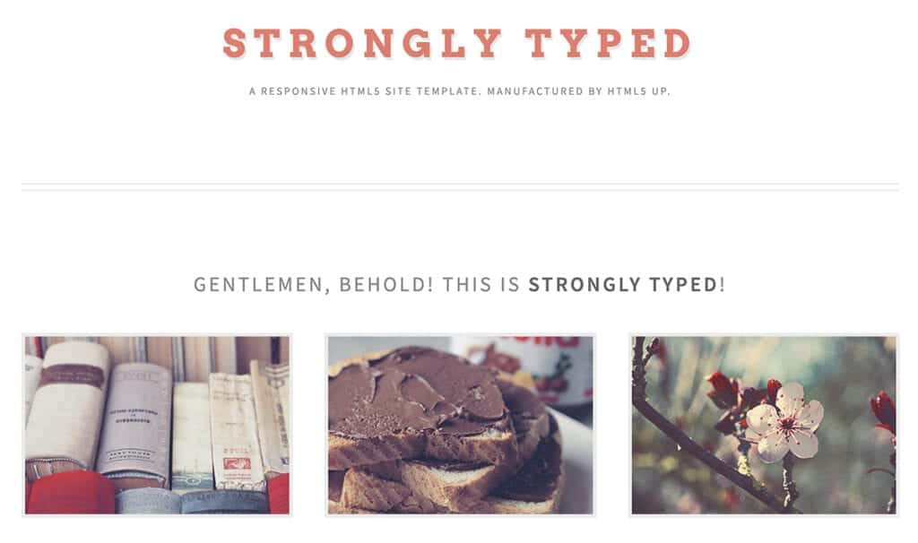 strongly typed free html5 template for writers