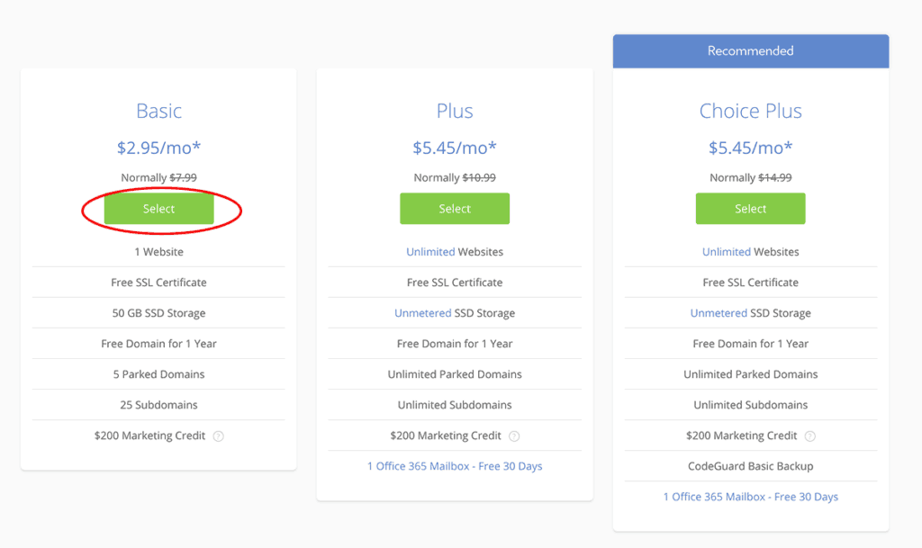 Bluehost Basic Plan $2.95/month