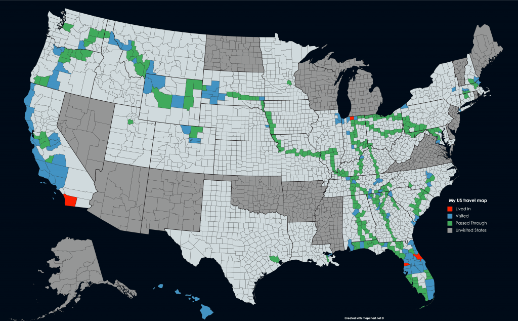 USA Counties travel map with unvisited States and a dark theme.
