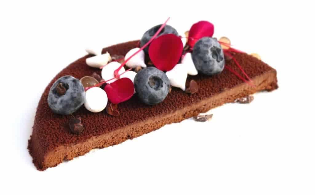 chocolate cake half berries