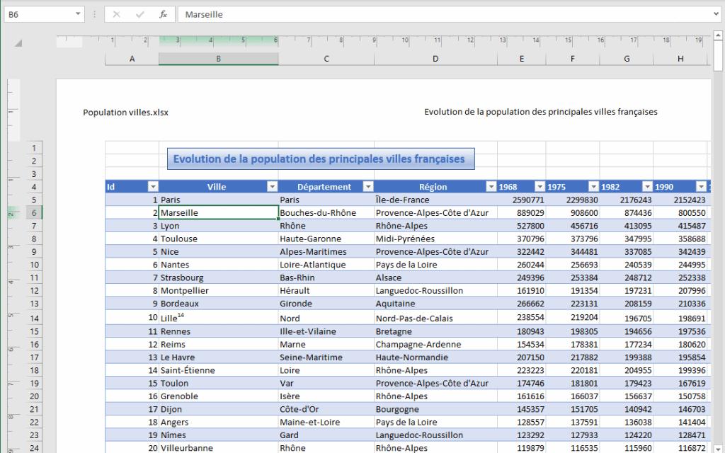 Excel - mode d'affichage mise en page