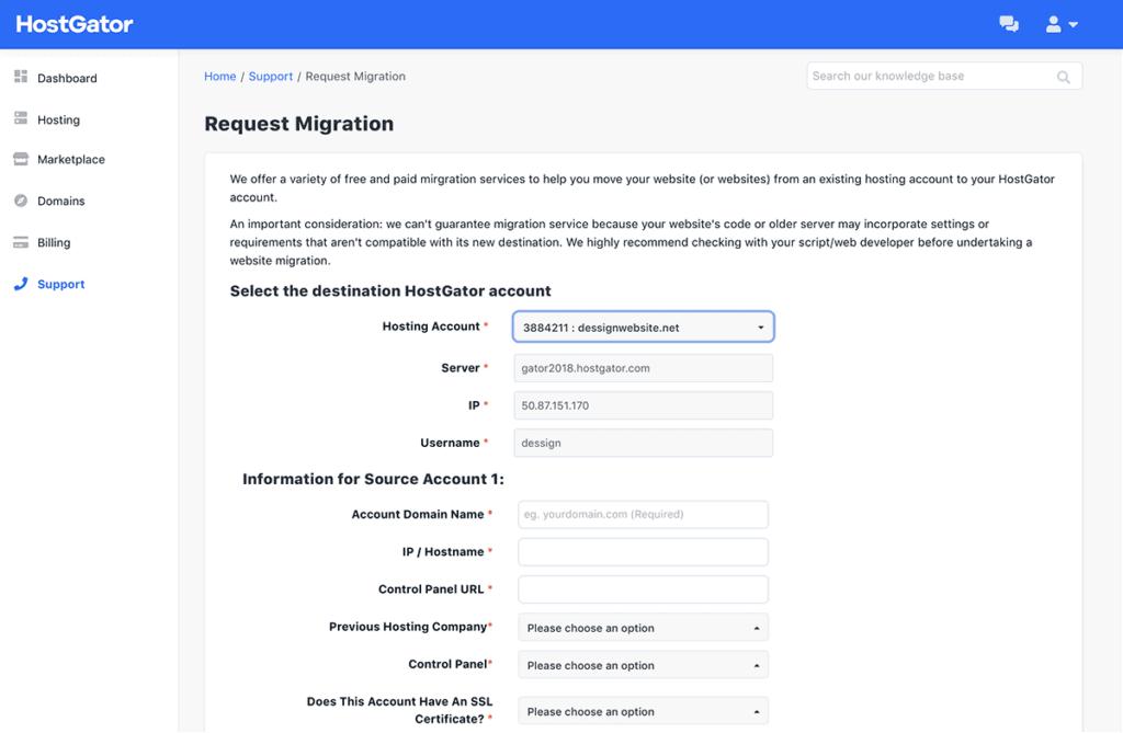 HostGator Request migration Overview