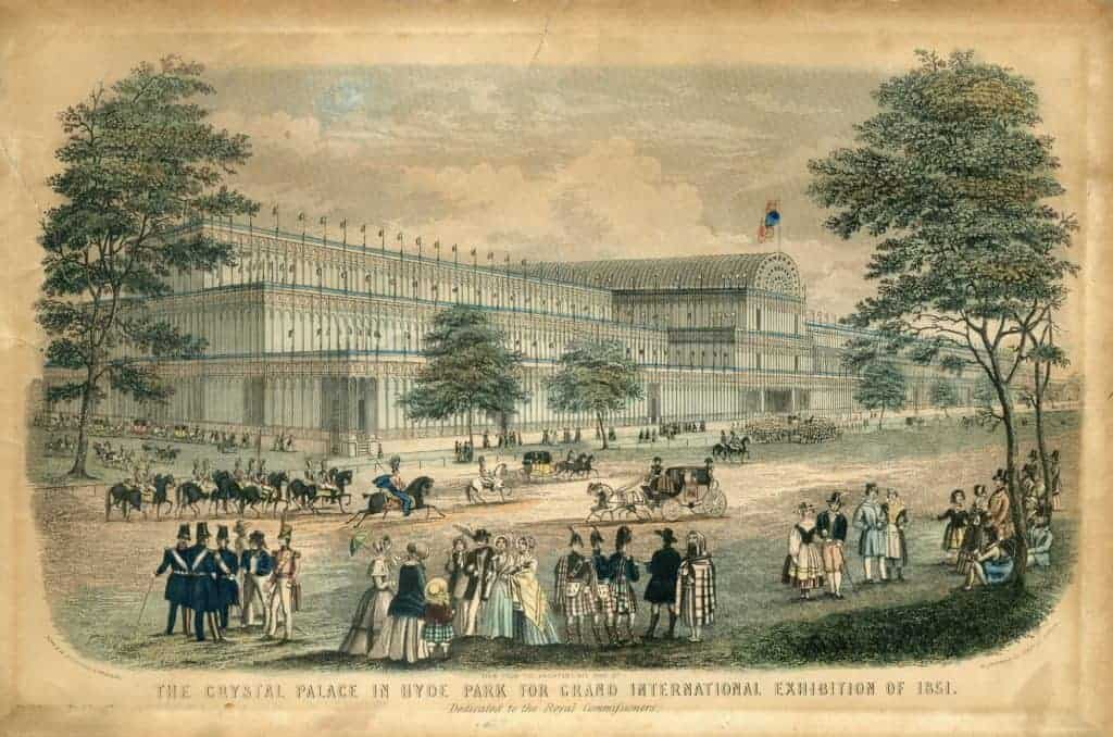 Postcard from 1851 depicting The Crystal Palace in Hyde Park for the Grand International Exhibition of 1851