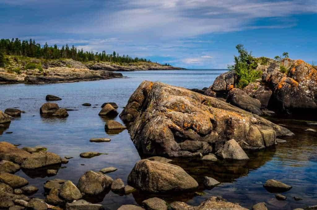 Rocky bay of Rock Harbor in Isle Royale National Park.