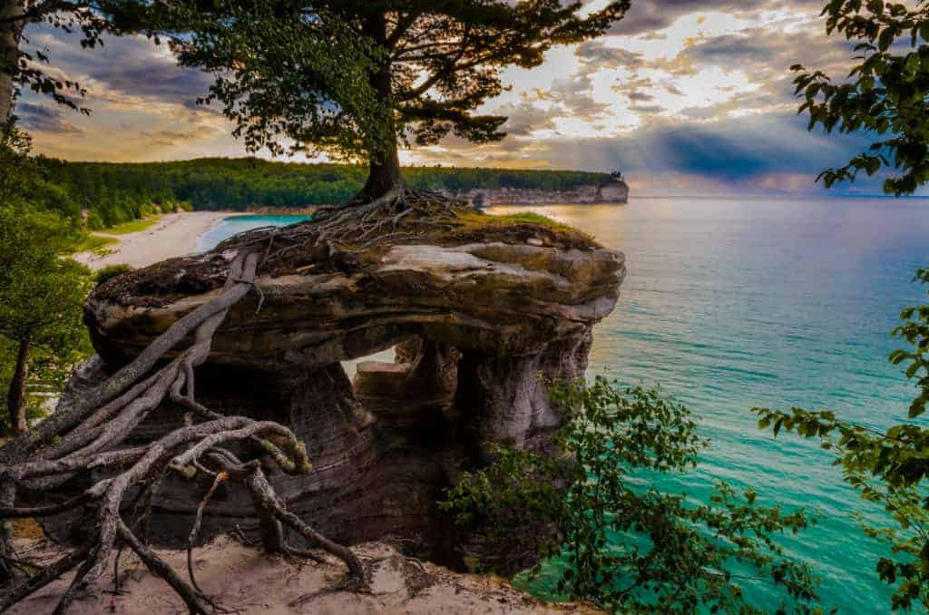 Chapel Rock in Pictured Rocks National Lakeshore.