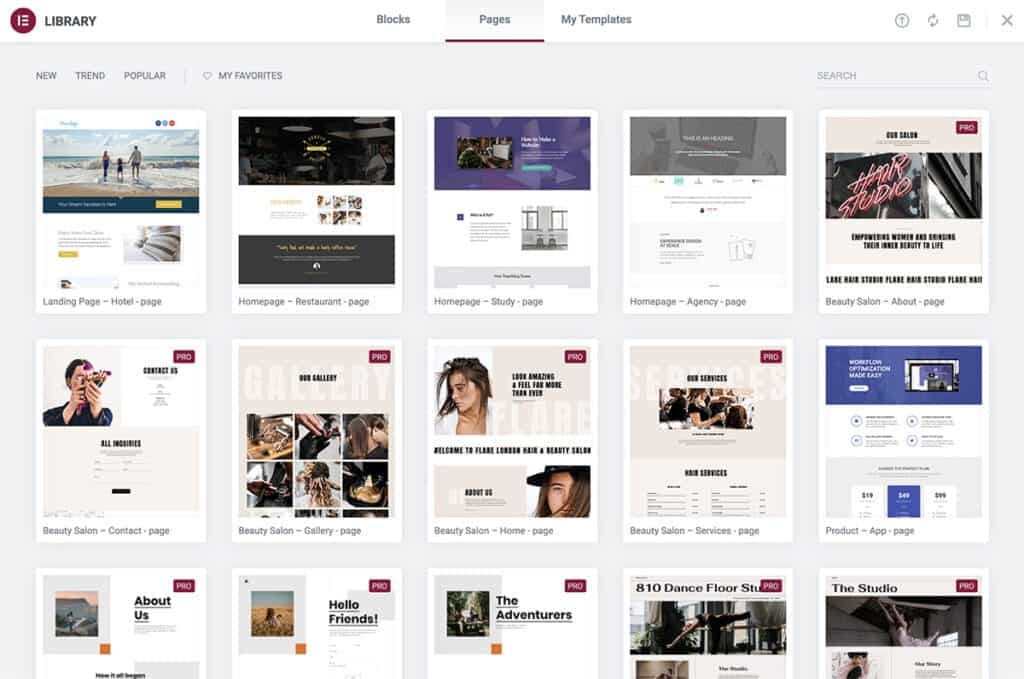 Elementor library templates