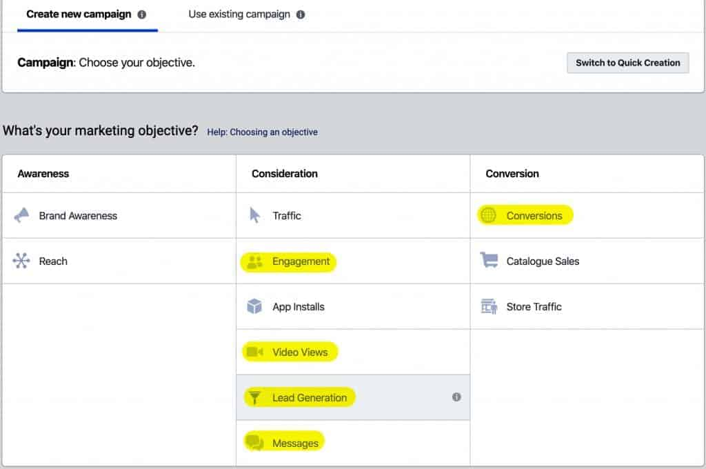 Facebook Campaign objectives DWT Digital