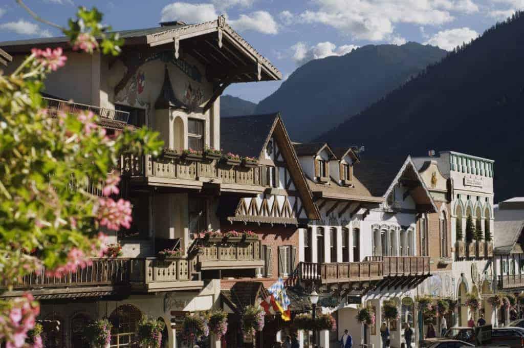 Bavarian style village located near Cascade Mountains.