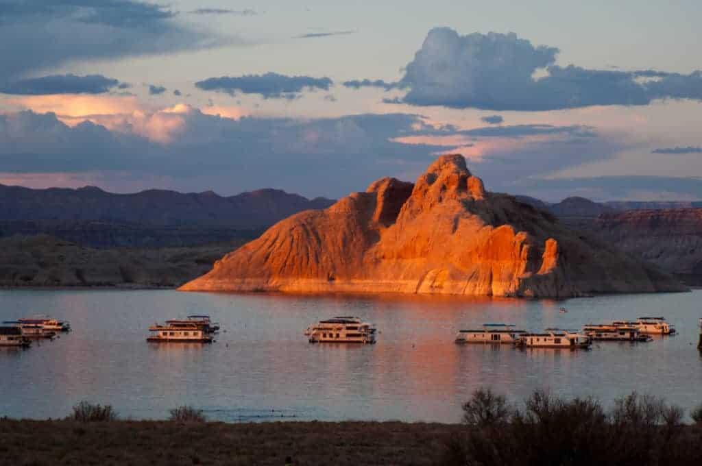 House boats on Lake Powell near Page, Arizona.