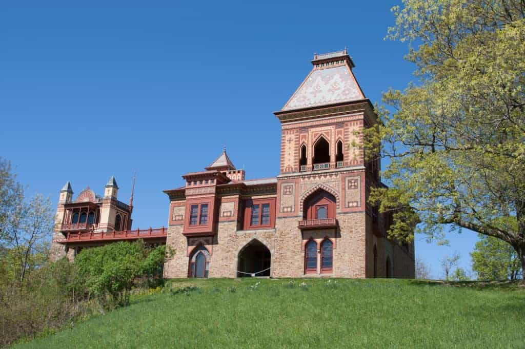 Spring view of Olana, historic home of Frederich Church along the Hudson River.