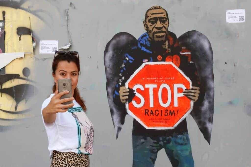 George Floyd in Barcelona, by street artist TVBoy.