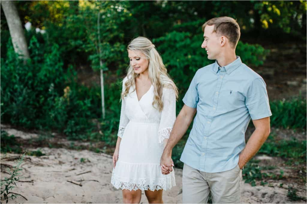 engaged couple on the engagement session in Chicago suburbs
