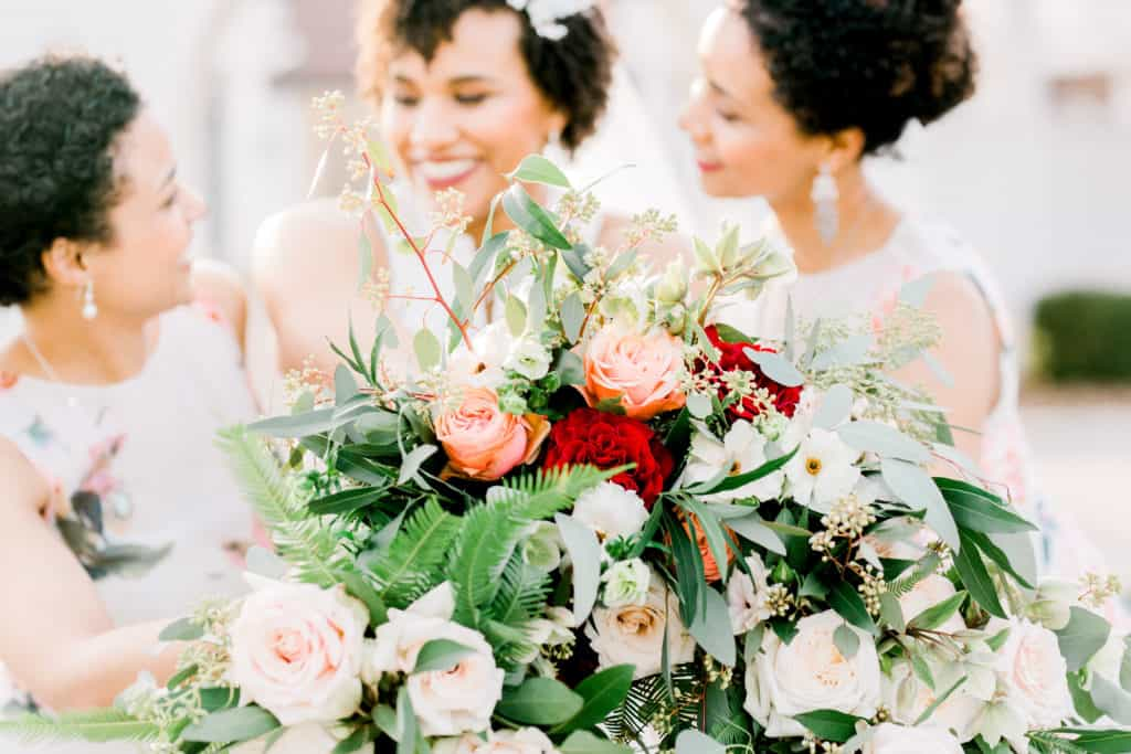 Danada House wedding, Chicago wedding photographer, bride and bridesmaids with flowers