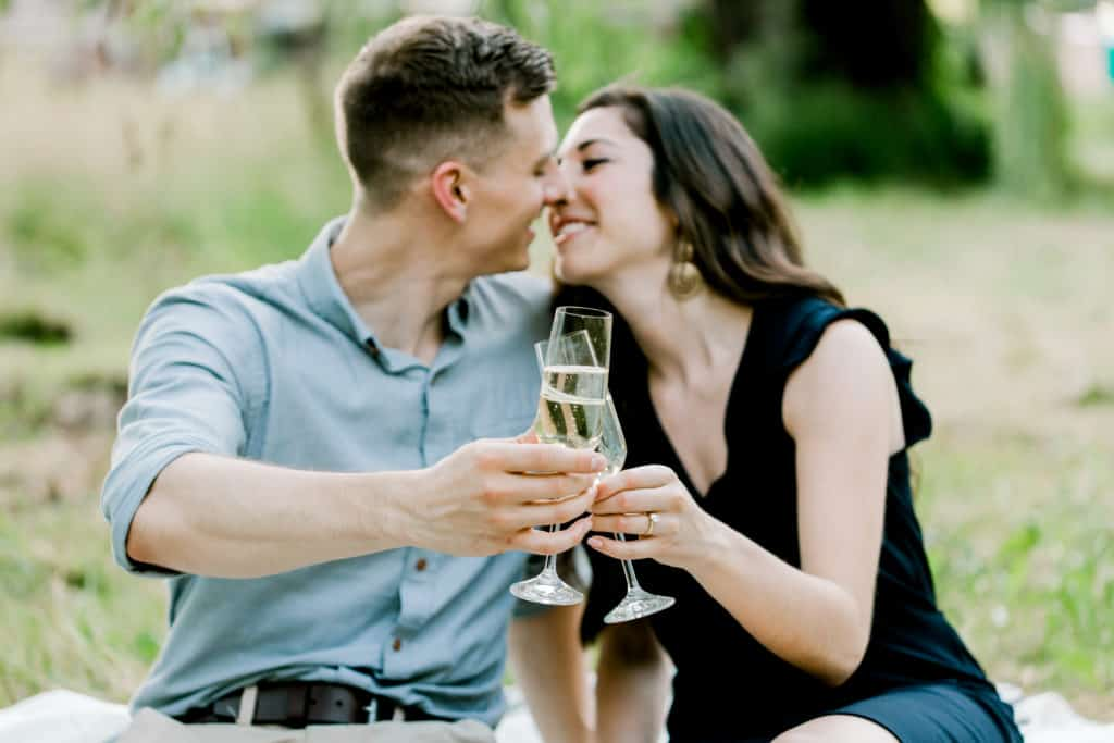 couple drinking from champagne glases